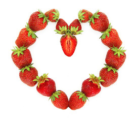 Heart made of a fresh strawberry