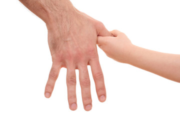 two hands - one of man and one of child isolated on white
