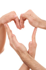 heart shape of hands isolated on white