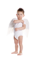 A boy with angelwings