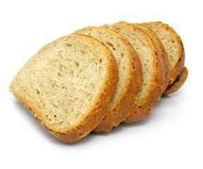 Fototapeta fresh baked bread sliced isolated over white background obraz