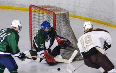high school hockey action