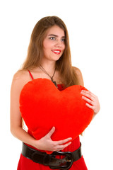 pretty woman keeps red heart isolated in white background