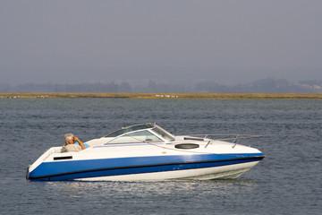 Printed roller blinds Water Motor sports luxury recreation boat in the ocean