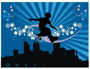 skater en vector en la ciudad