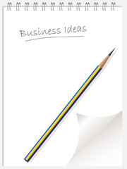 business idea list note pad or note book with page curl