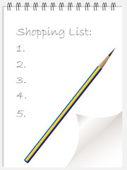 Shopping list note pad or note book with page curl