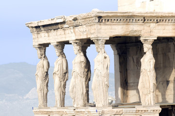 The Porch of the Maidens in Athens, Greece.