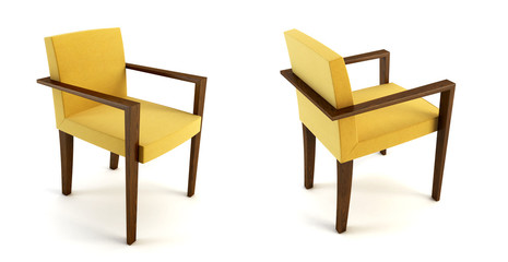 modern yellow chair 3D rendering