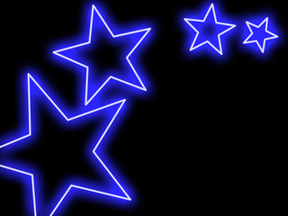 Swoosh of blue stars glowing in neon style