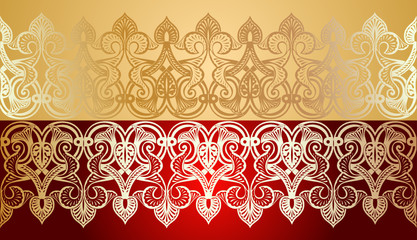 Seamless Gold Lace Ornate On Red