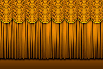 Wall Mural - Large golden stage curtains with border