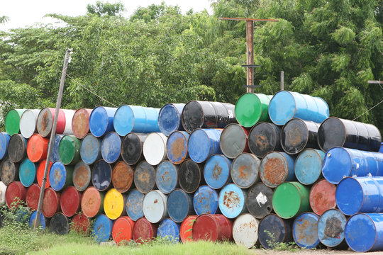 Stacks of colorful barrel once contained dangerous chemicals