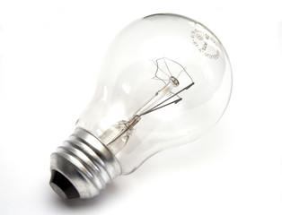 Transparent light bulb at white background
