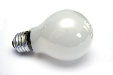 Mate white light bulb at white background