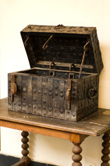 Antique medieval wooden chest