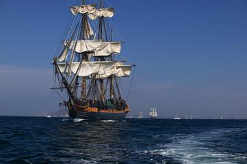 Tall Sailing Ship at Sea under full sail