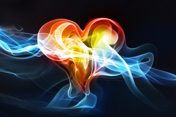 Heart-shaped lightning photo effect, love or medical concept