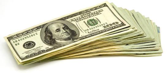 US Hundred Dollar Bills Isolated on White.