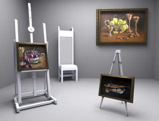painters atelier with oil pictures