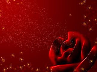 Background - an abstract red rose and shining stars