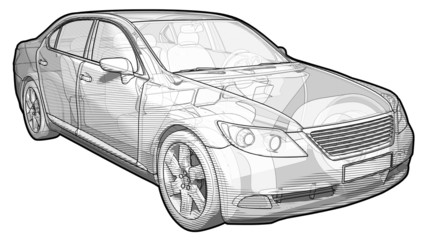 Perspective sketchy illustration of a Lexus LX460.