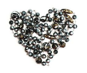 jewelry Valentine's Day  black beads heart isolated