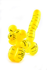 High resolution yellow twisted balloon tiger isolated on white