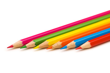 Various pencils isolated on the white background