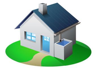 Maison et récupération d'eau de pluie