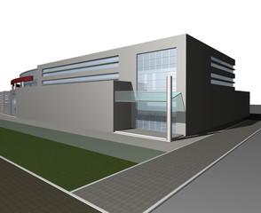 3d digital render of modern business center building