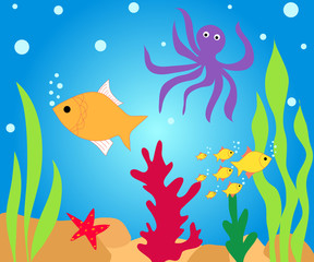 Fishes and octopus