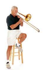 Senior Playing His Trombone