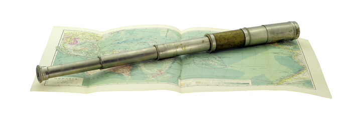 Old telescope and old map