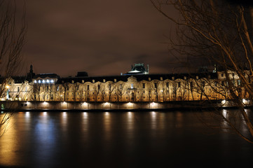 building of institut de France in Paris, France at night