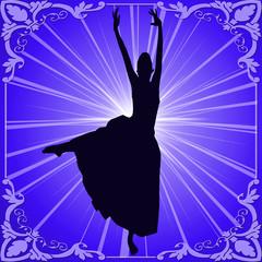 Dancer framed against blue