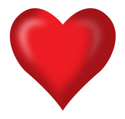 red heart in white background