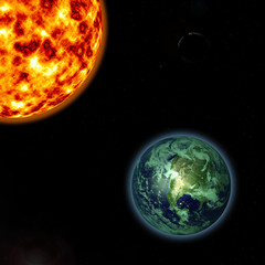 Render of Sun and earth in High resolution 3D