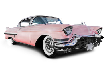 Self adhesive Wall Murals Old cars pink cadillac