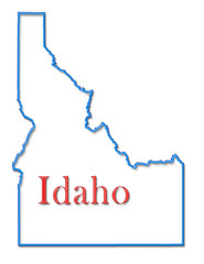 Idaho Map Outlined in Neon Blue with Red Lettering