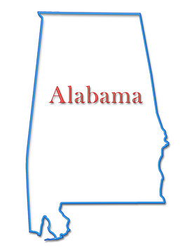 Alabama Map Outlined in Neon Blue with Red Lettering