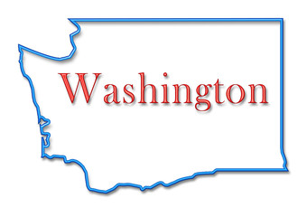 Washington Map Outlined in Neon Blue with Red Lettering