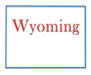 Wyoming Map Outlined in Neon Blue with Red Lettering