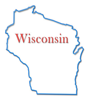 Wisconsin Map Outlined in Neon Blue with Red Lettering