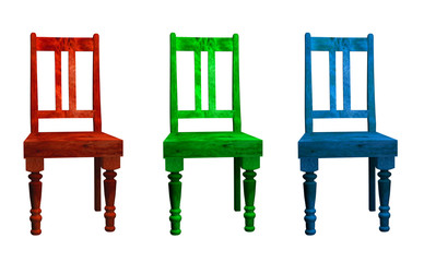 Three 3D chairs in red green and blue