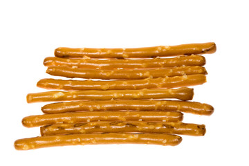 A small pile of salted pretzel sticks.