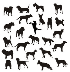 siluetas de perros en vector
