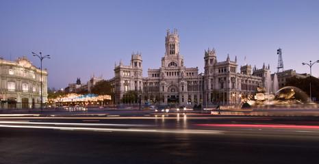 Panorama of Plaza de la Cibeles in Madrid, Spain