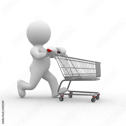 3d human figure with empty shopping cart stock photo and royalty