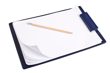Close-up of notepad with blank sheets and pencil. Clipping path.